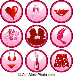 knopen, liefde, pictogram