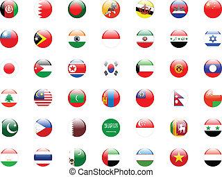 knopen, met, aziaat, land, vlaggen