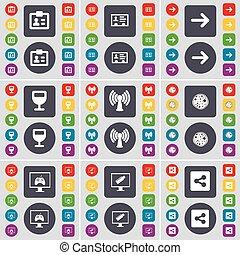 knopen, monitor, set, pizza, gekleurde, plat, wi-fi, wijnglas, aandeel, symbool., groot, contact, vector, pijl juist, pictogram, jouw, design.