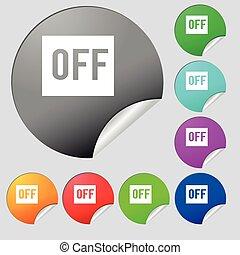 Knopen,  multi,  Set, van, gekleurde, meldingsbord,  Vector, acht,  stickers, ronde, pictogram
