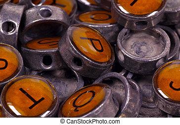 knopen, ouderwetse , typemachine