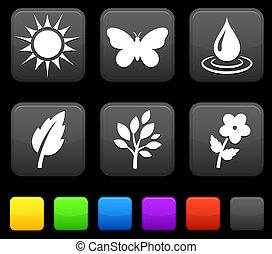 knopen, plein, natuur, iconen, milieu, internet