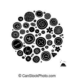 knopen, schets, verzameling, ontwerp, jouw