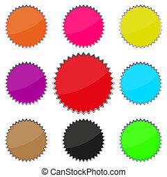 knopen, set, gekleurde