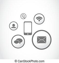 knopen, toepassing, smartphone