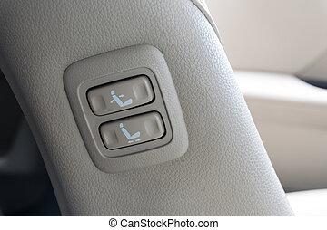 Detail., auto, aanpassen, zetel, knopen, position., interieur.
