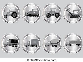 knopen, vrachtwagens, vorm, iconen, tractoren, vector, beelden