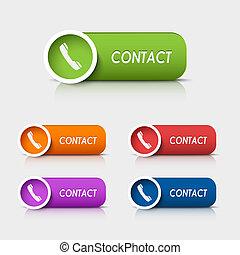 knopen, web, contact, gekleurde, rechthoekig