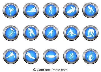 knopen, winter, set, sportende