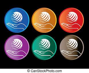 knopen, zes, verzameling, kleurrijke