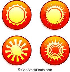 knopen, zon, iconen, internet