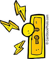 knopp, dörr, tecknad film