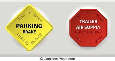 knopp, tillförsel, luft, lastbil, parkering bromsa, släpvagn