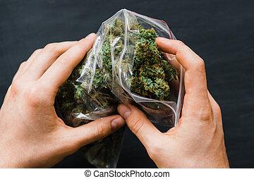 knoppen, verpakken, groot, weed., velen, wiet, joint, fris, groene, spase, copy-space, cannabis, kopie