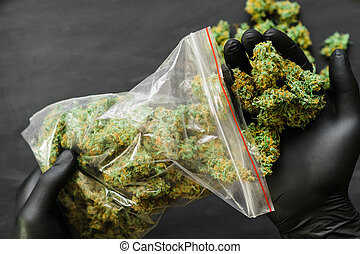 knoppen, verpakken, velen, weed., wiet, groot, joint, fris, groene, spase, copy-space, cannabis, kopie