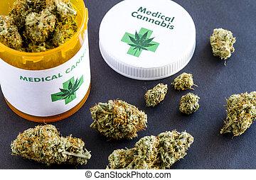 knospen, medizin, schwarz, marihuana, hintergrund
