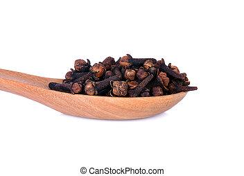 knospen, nahaufnahme, pikant, hölzern, syzygium, spoon., aromaticum, blume, getrocknete , gewürznelke