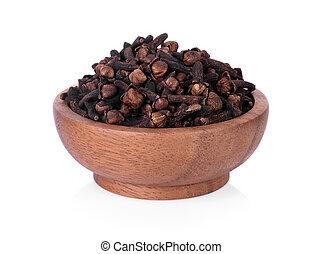 knospen, pikant, hölzern, syzygium, aromaticum, blume, getrocknete , bowl., gewürznelke