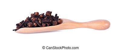 knospen, pikant, hölzern, syzygium, spoon., aromaticum, blume, getrocknete , gewürznelke
