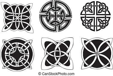 Knot Decoration Dingbats - Six miscellaneous knot dingbat ...