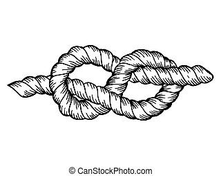 Knot engraving vector illustration. Scratch board style imitation. Hand drawn image.