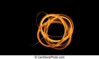 Knot, Fiery Thread - Knot, dynamic vortex, orange stream on...