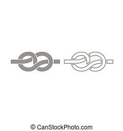 Knot icon. Grey set .
