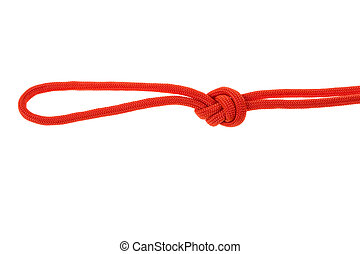 knot loop of red rope on white background