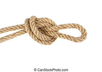 knot of linen rope isolated on white background