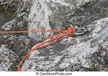 knot on the rope at lake