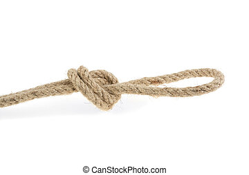 knot rope made of flax, on a white background isolated.