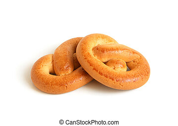 Knot-shaped biscuits on a white background