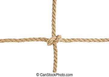 knot tied by a rope - strong knot tied by a rope isolated on...