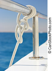 Knot tied on a yacht