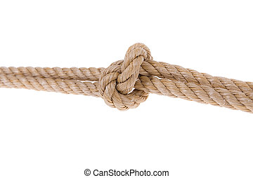 Knot tied on two ropes. For compound. Close-up on a white...