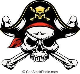 knotor, korsat, sjörövare, kranium