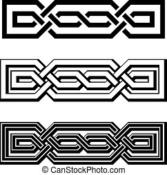 knots, keltisch, vektor, schwarz, weißes, endlos, 3d