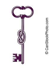Knotted key allegorical symbol of keep secret, vintage ...