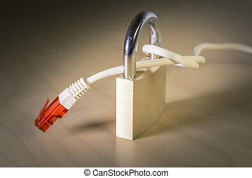 knotted net cable around a padlock. Suitable for concepts as...