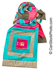 knotted patchwork silk scarf with square ornament