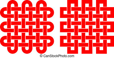 Knotted square pattern isolated on white background