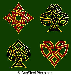 Knotwork card suits - Celtic knotwork designs for card...