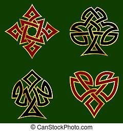 Knotwork card suits - Celtic knotwork designs for card...