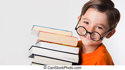 Know-all - Portrait of cute boy wearing circle glasses and...