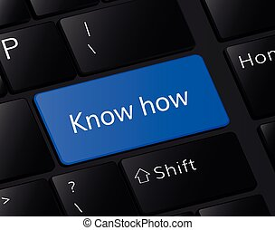 Know how button on keyboard. Know how concept . Know how illustration