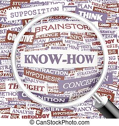 KNOW-HOW. Word cloud illustration. Tag cloud concept...