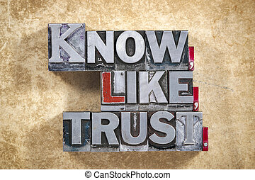 know, like, trust words made from metallic letterpress type on grunge cardboard background
