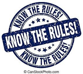know the rules blue grunge round vintage rubber stamp