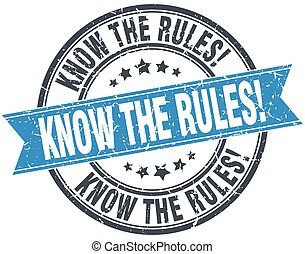 know the rules blue round grunge vintage ribbon stamp