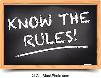 detailed illustration of a blackboard with know the rules text, eps10 vector, gradient mesh included